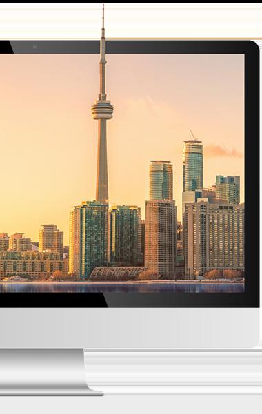Toronto skyline displayed on computer screen